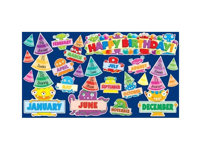 Scholastic Teacher's Friend Monsters Birthday Mini Bulletin Board, Multiple Colors (TF8086)