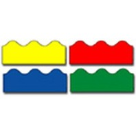 BBS Bulletin Board Sets Scalloped Border - 4 Color Pack - Red, Blue, Green, Yellow; no. CD-1218