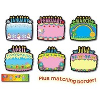 Birthday Cake Bulletin Board Sets / BBS - 12 Cakes; Multi-Colored; no. CD-1726