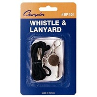 Champion Sports Metal Whistle with Lanyard, Black/Silver