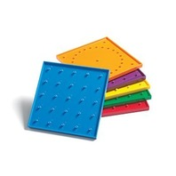 """Double Sided Geoboards, 6"""", Set Includes 6 Boards(6 Colors)/120 Elastic Bands"""