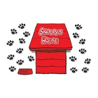 Eureka Peanuts Giant Dimensional Dog House Bulletin Board Set, 3 Reusable Punch Out Sheets