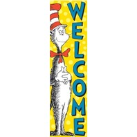 Eureka Dr. Seuss Vertical Classroom Banner, Cat in The Hat Welcome, 45 x 12 Inches (849664)