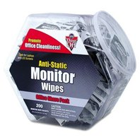 Antistatic Monitor Wipes--Office Share Pack 5 x 6 200 Individual Foil Packets