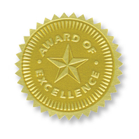 GOLD FOIL EMBOSSED SEALS AWARD OF