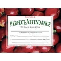 Perfect Attendance Certificates; 30 Per Pack