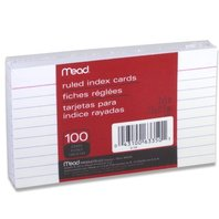 Mead 3 x 5-Inch Index Cards, Ruled, 100 Count, White (63350)