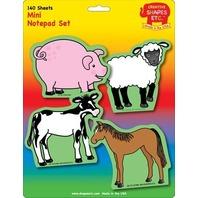 Creative Shapes Notepad Farm Animals Set Mini