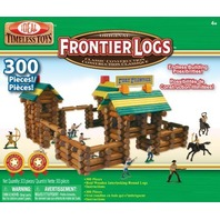 POOF-Slinky 300LBL Ideal Frontier Logs Classic All Wood Construction Set with Action Figures and Sealed Storage Box, 300-Pieces