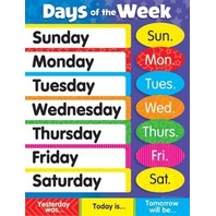 Days Of The Week Chart; 17 x 22; no. T-38203