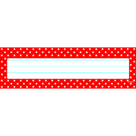 POLKA DOTS RED DESK TOPPERS NAME