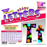 """Neon Dots 4"""" Playful Combo Pack Ready Letters; no. T-79754"""