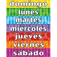 Teacher Created Resources Days of the Week (Spanish) Chart, Multi Color (7692)