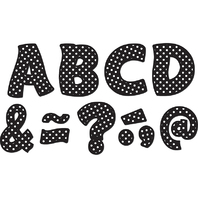 BLACK POLKA DOTS FUNTASTIC FONT 3IN