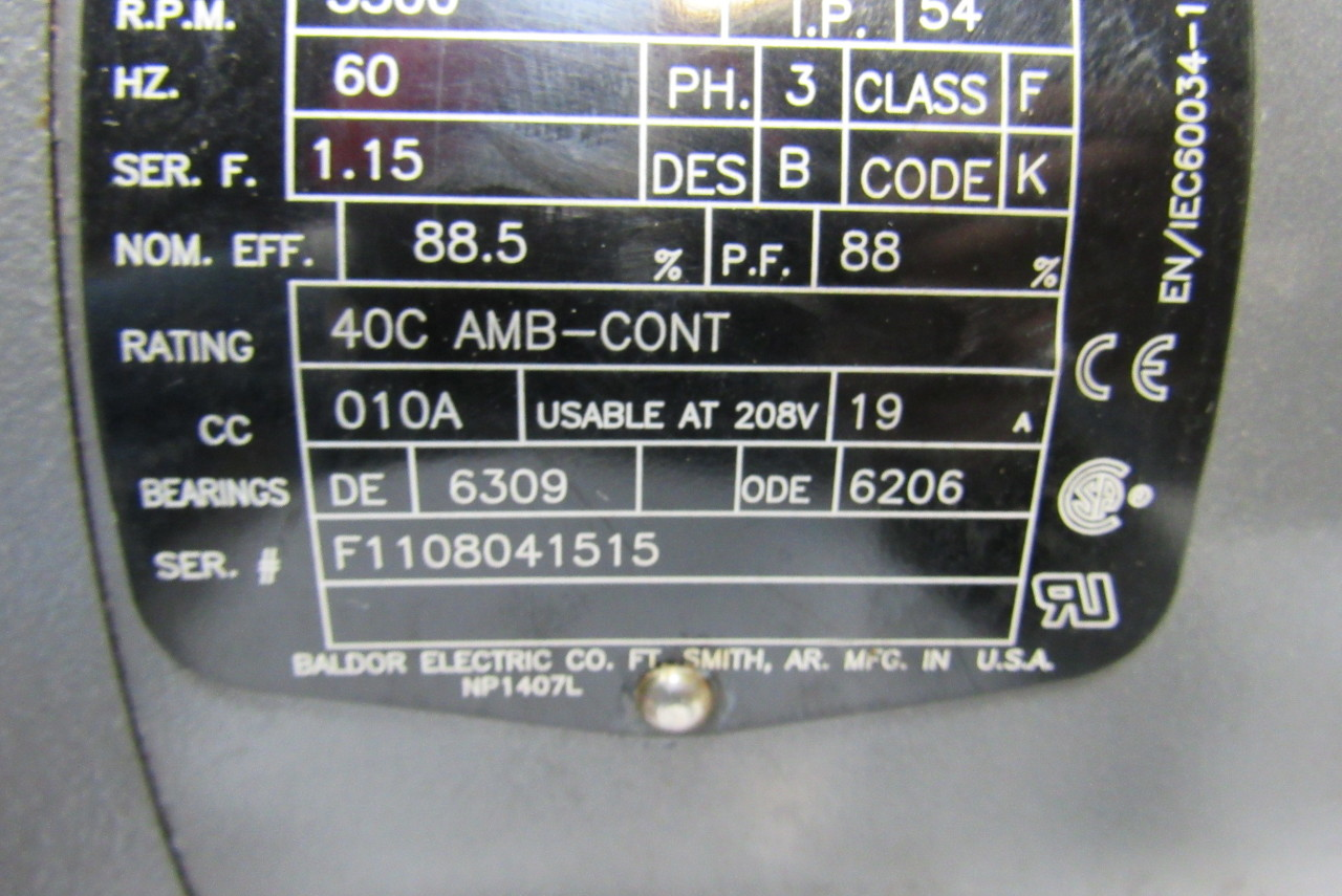 Baldor reliance mvm3709d electric motor d132sd for Reliance dc motor frame size chart