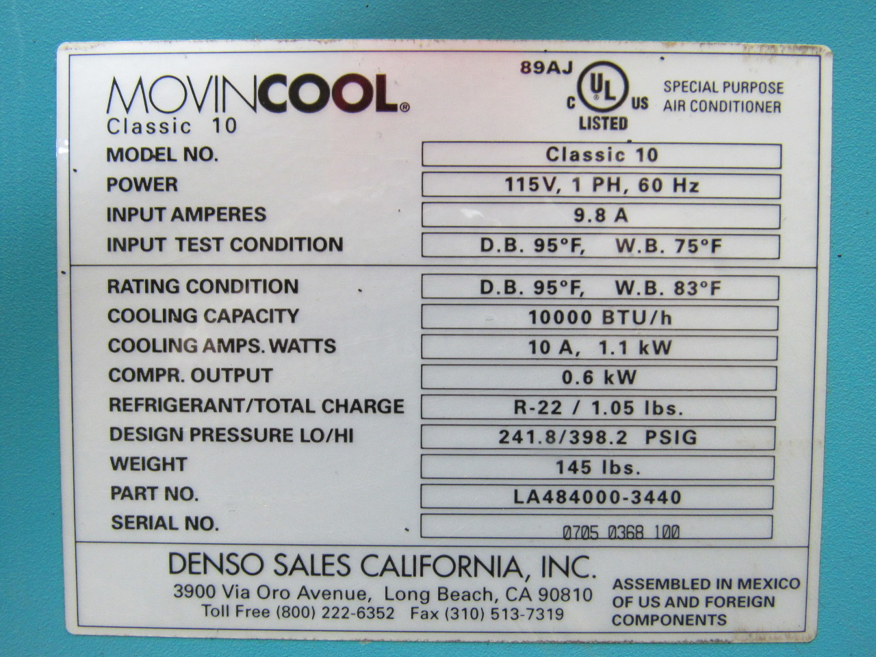 Movincool Classic 10 Portable Air Conditioner 115v 1ph 10 000 Btu/hr  #368495