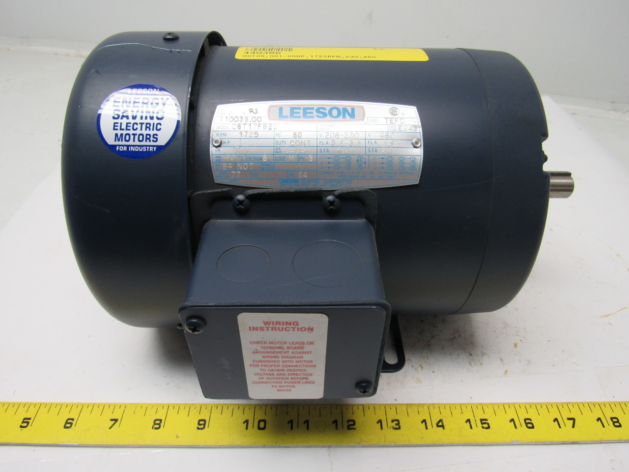 Leeson electric c6t17fb2d 1hp 1725rpm 3ph 208 for Leeson 1 2 hp dc motor