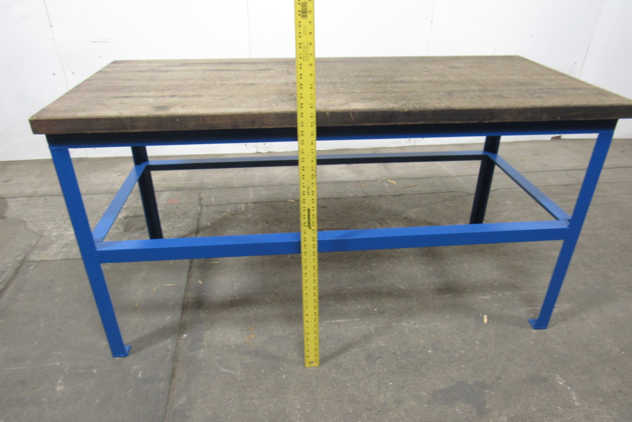 30x67 quot butcher block steel industrial work assembly table