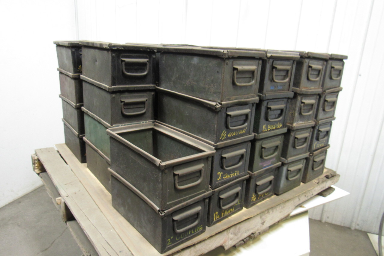 Industrial Stacking Containers : Vintage industrial stackable steel storage bins quot ammo can