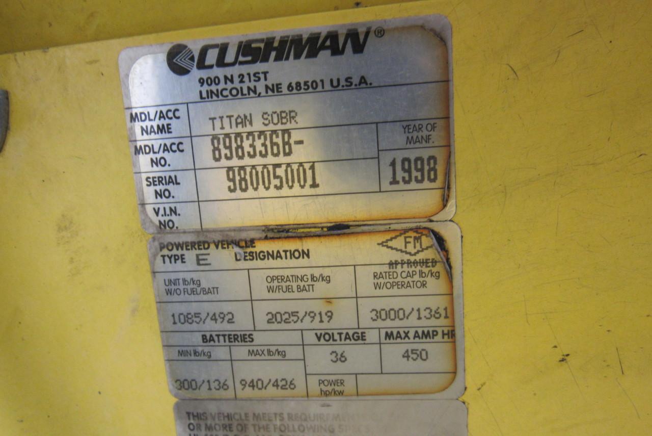 Cushman Titan Sobr 36v 2 Person Burden Carrier Utility