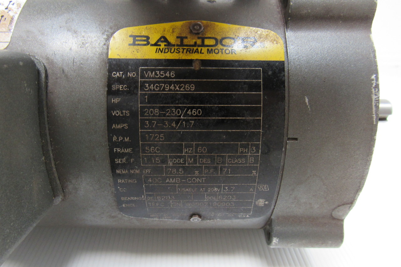 Baldor vm3546 1 hp electric motor 230 460v 1725 rpm 56c frame for 56c frame motor dimensions