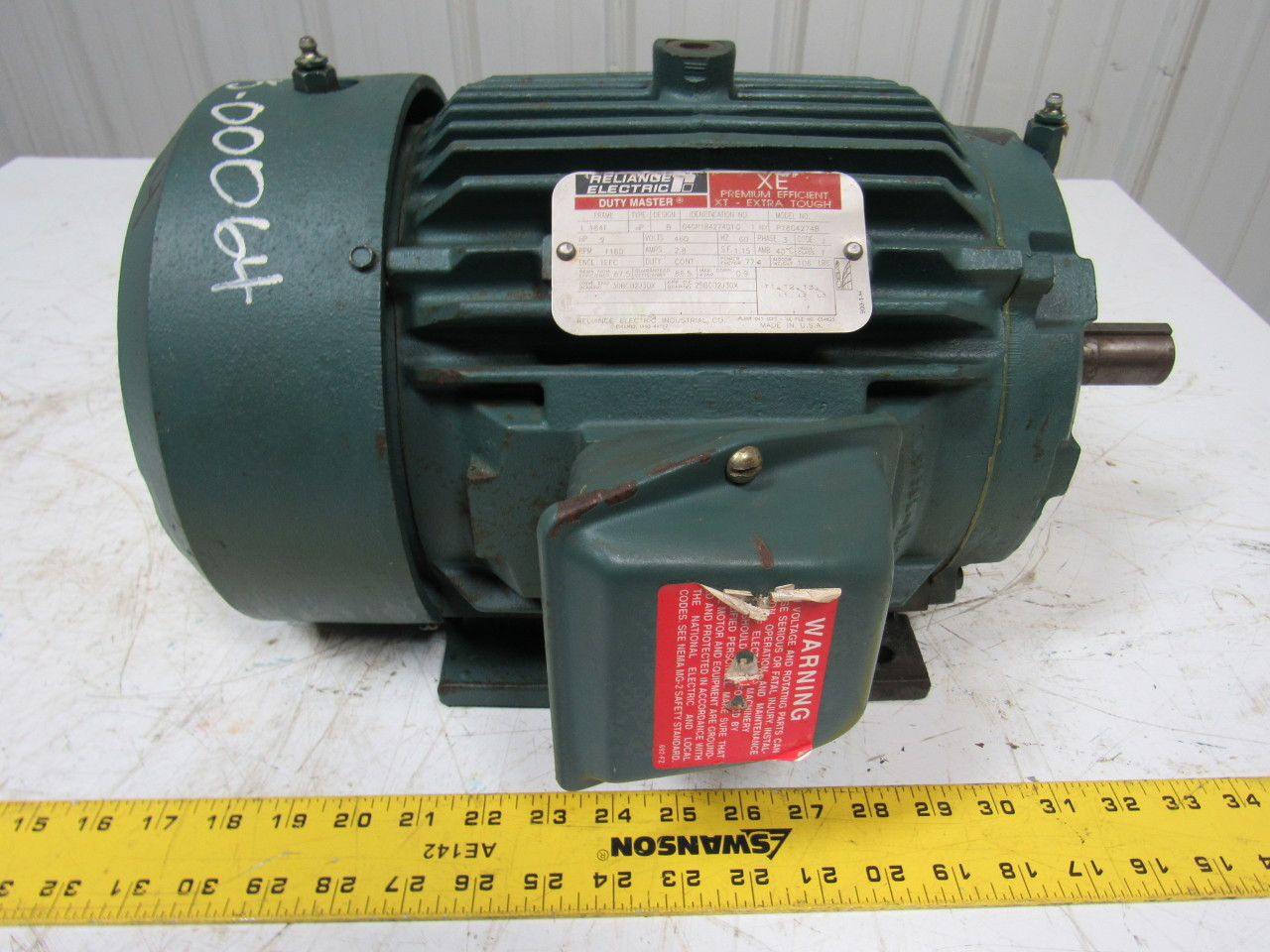 Reliance Electric P18g4274b Electric Motor 2hp 3ph 460v