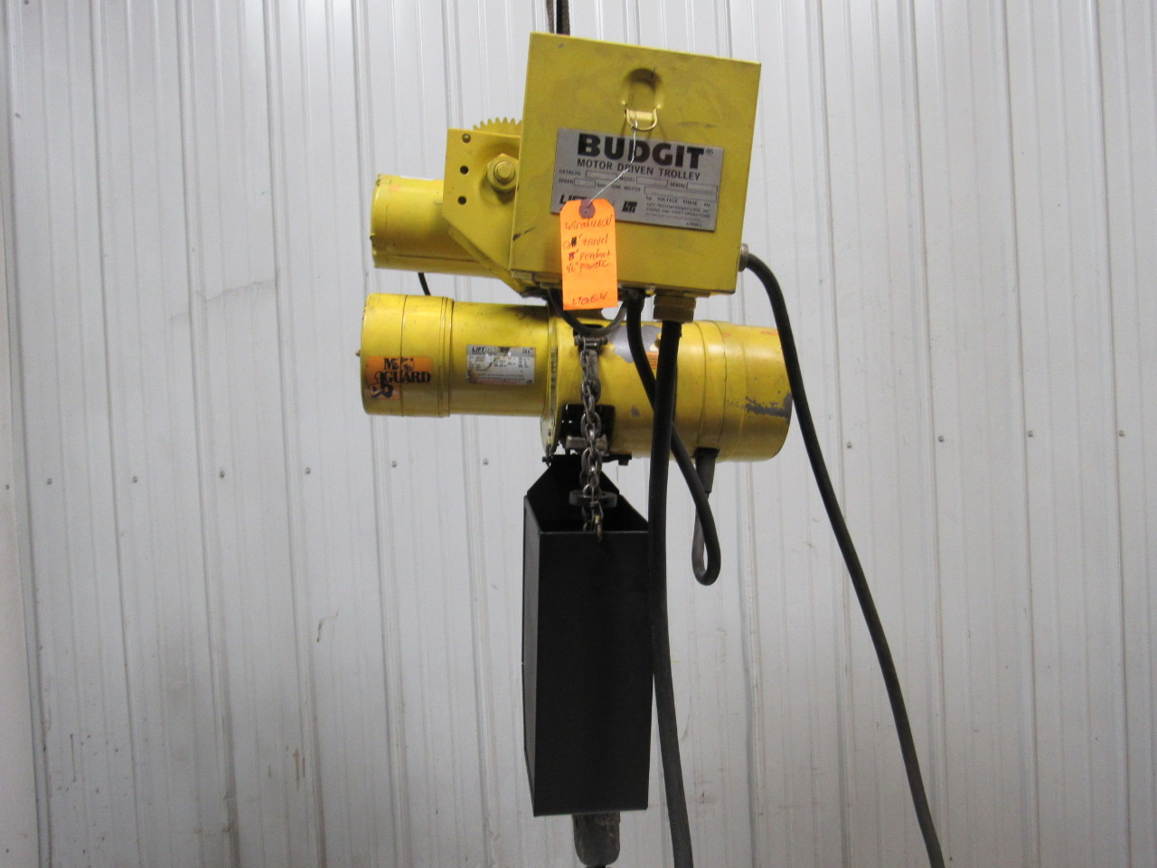 Budgit 11591205 2 ton electric chain hoist w motor for 2 ton hoist with motorized trolley