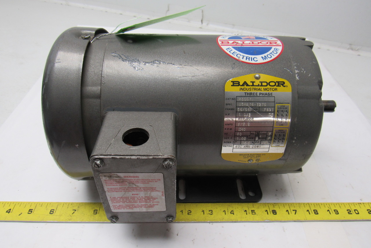 Baldor M3557 1 1 2hp Motor 1140 Rpm 3 Ph 230 460v 56 56h