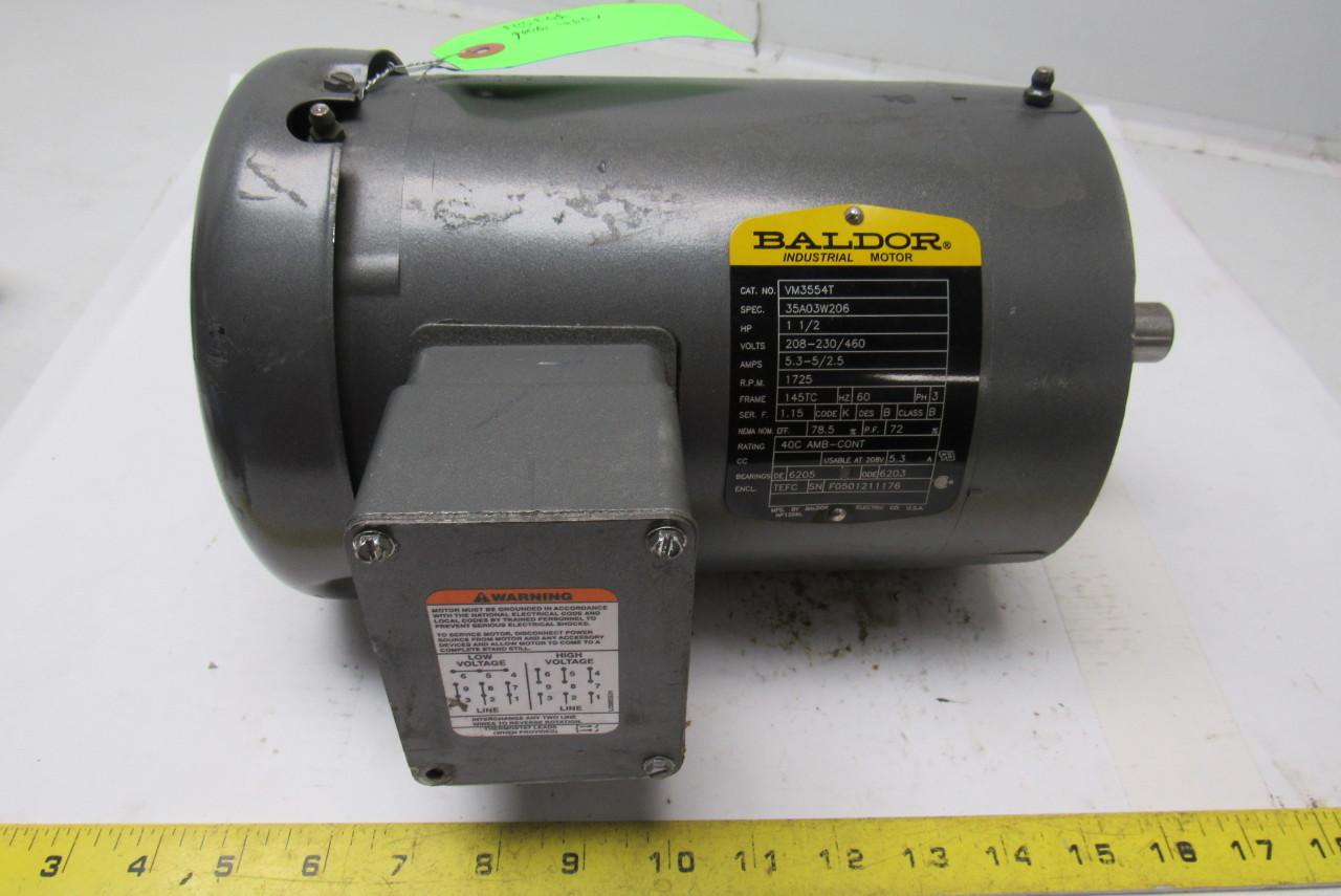 Baldor Vm3554t 1 1 2hp Ac Motor 208 230 460v 1725rpm 3ph