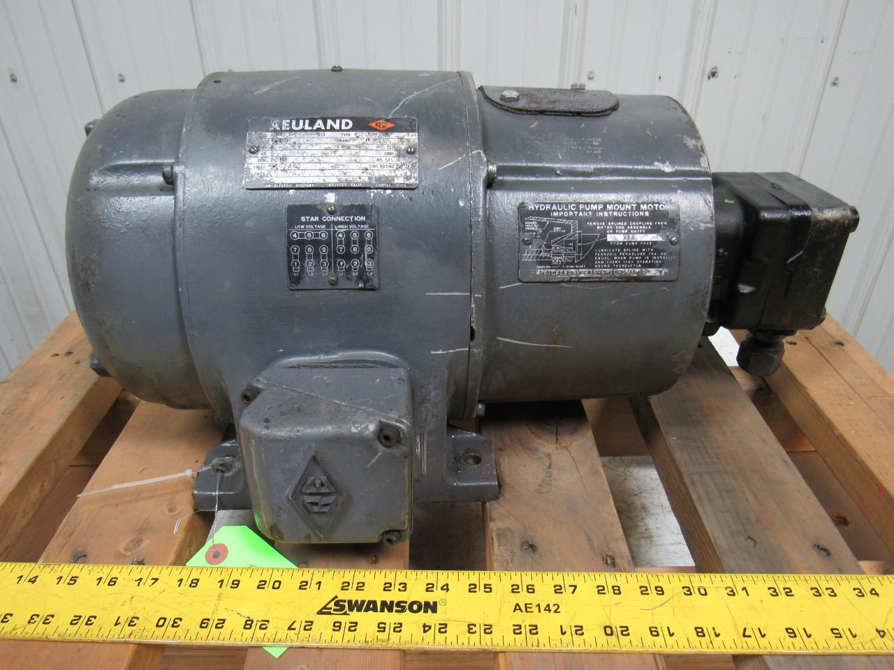 REULAND/VICKERS 2581/ v-235-6-1C-S63-10 5Hp 220/440V 1800Rpm Motor W/Vane Pump