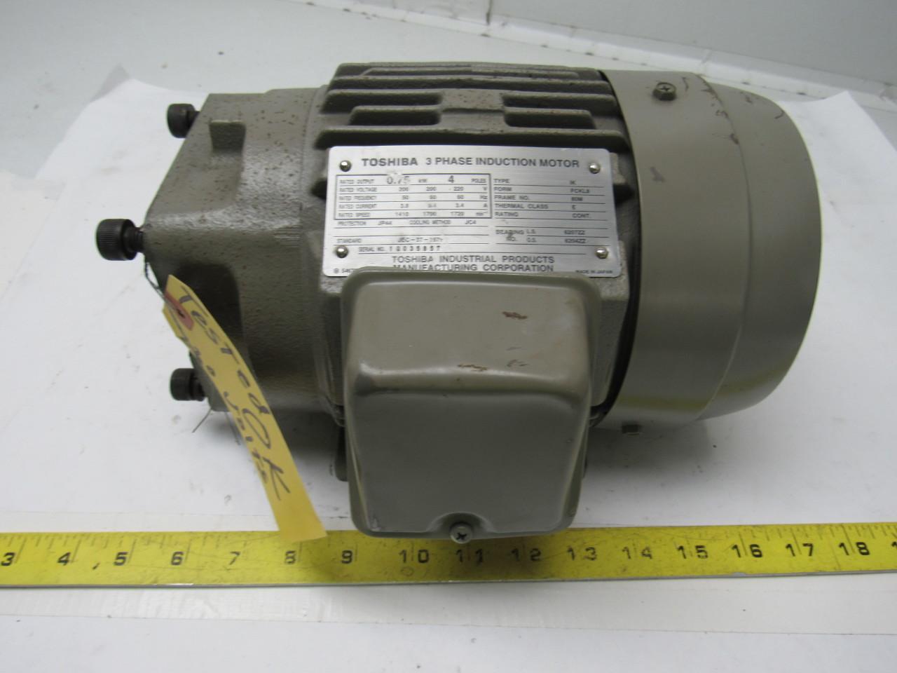Toshiba Electric Induction Motor 200 220v 3ph 1720