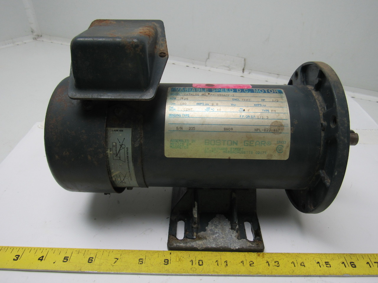 Boston Gear Pm1850atf I D C Gear Motor 180v 1 2 Hp 5 8