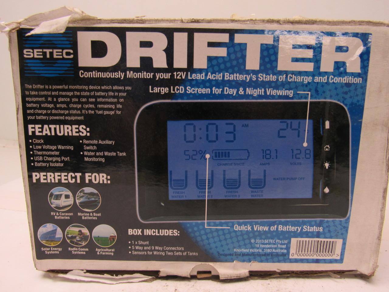 Rv Battery Monitoring Display : Setec drifter rv boat utility monitor tank battery