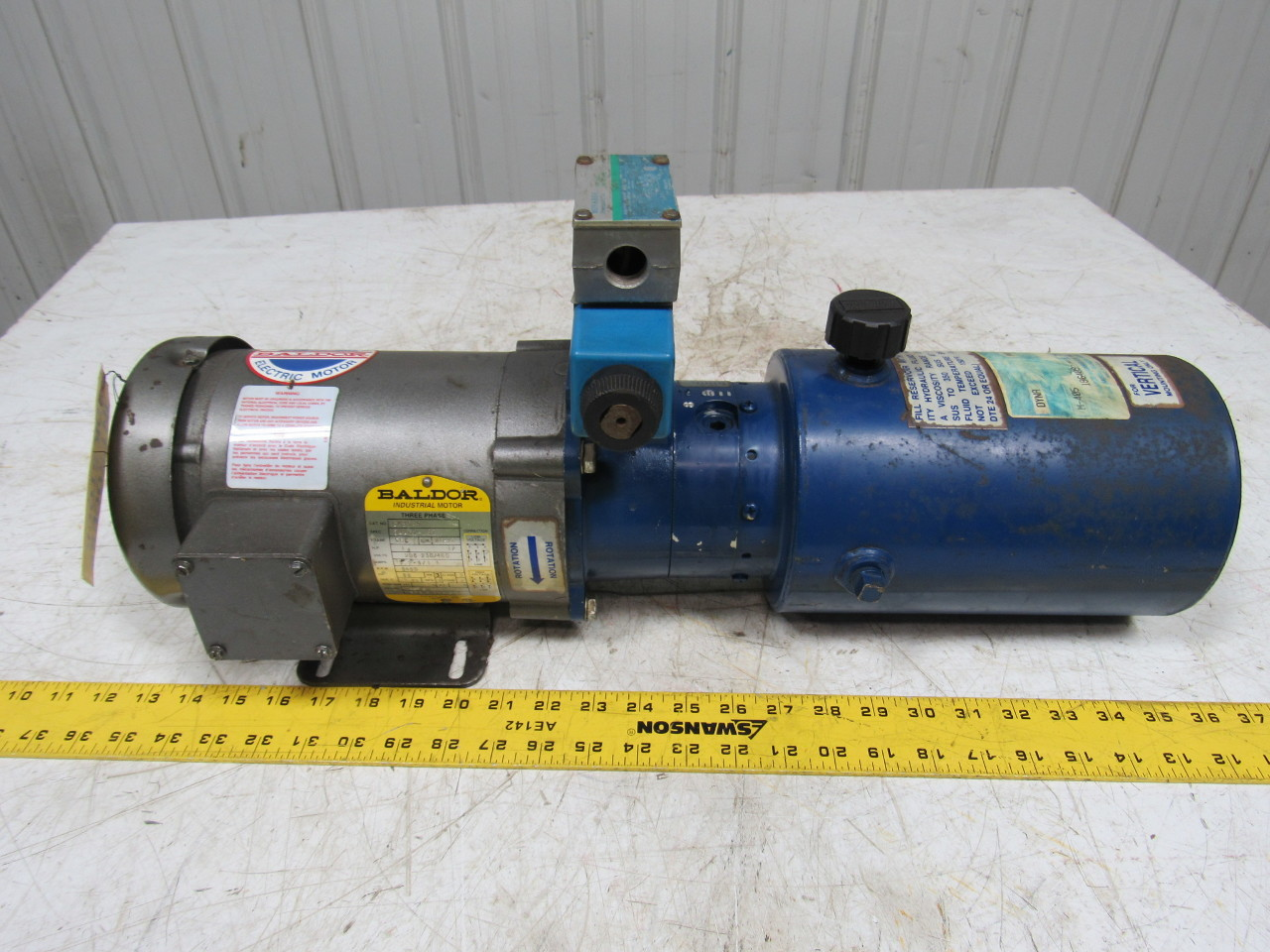 Dyna pack m405 monarch hydraulic pump unit w baldor 1hp for Hydraulic pump motor units