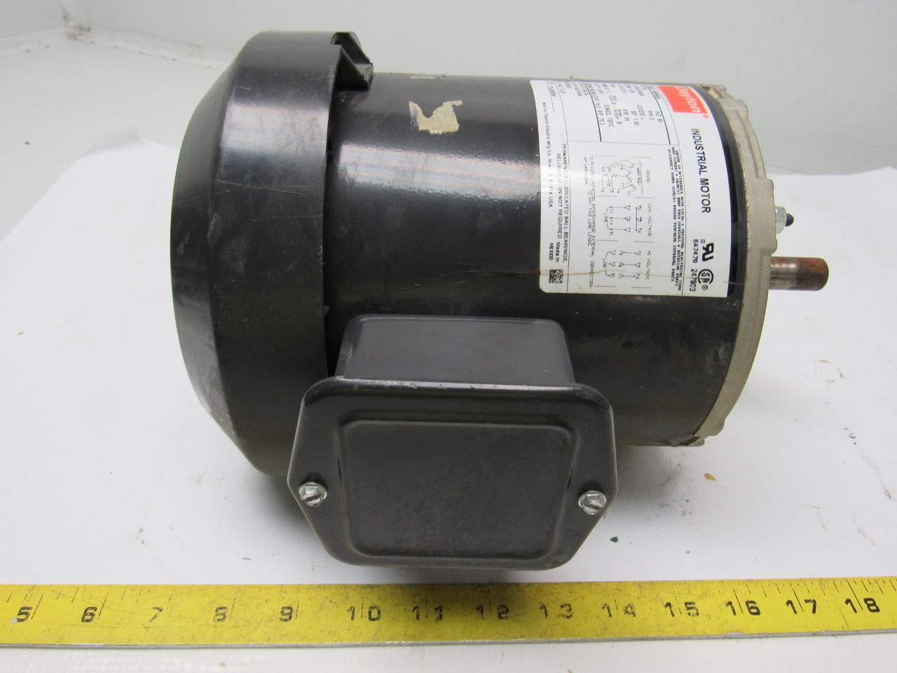Dayton 2n866ba electric motor 3 4 hp 208 230 460v 3 phase for 10 hp single phase motor amps