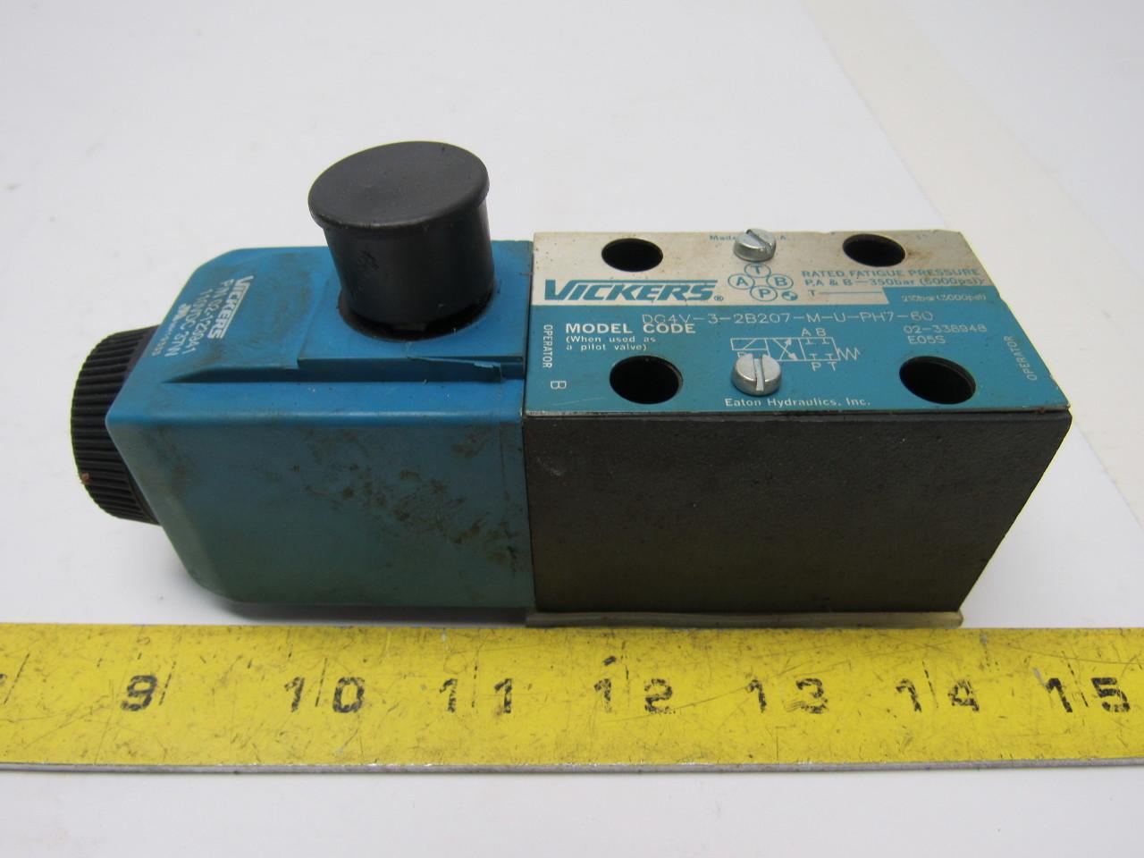 Vickers DG4V-3-2B207-M-U-PH7-60 Hydraulic Solenoid Valve W/110VDC Coil