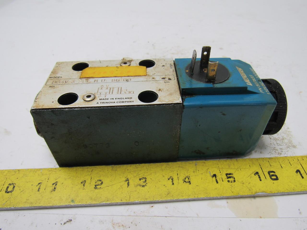 Vickers DG4V-3-2BL-M-U-B6-60 Hydraulic Control Valve 120V Coil
