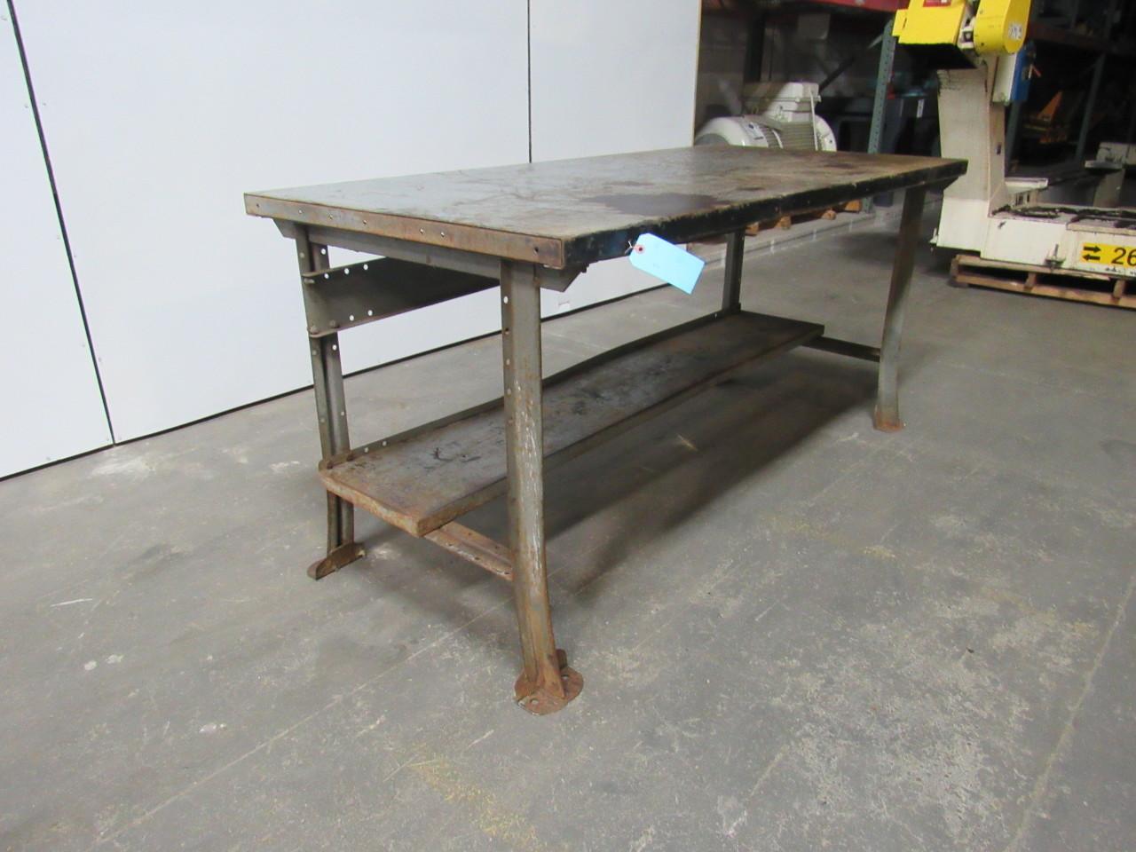 100 Work Bench Leg Vintage Industrial All Steel Welded Top