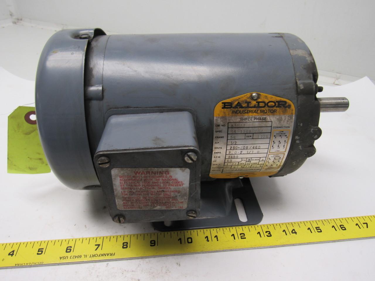 Baldor m3537 1 2 hp electric motor 3ph 208 230 460v for Baldor 2 hp single phase motor