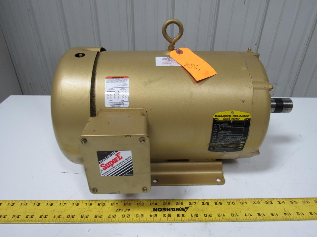 Baldor em3708t 5hp ac motor 1160rpm 215t 60hz tefc super e for 5 hp tefc motor