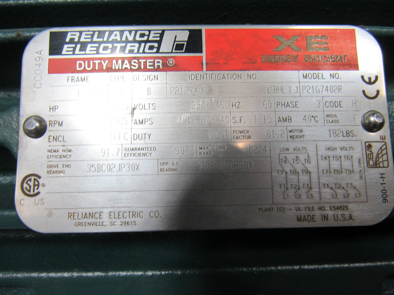 Reliance electric 7 5hp electric motor 3ph 230 460v 1765 for Reliance dc motor frame size chart