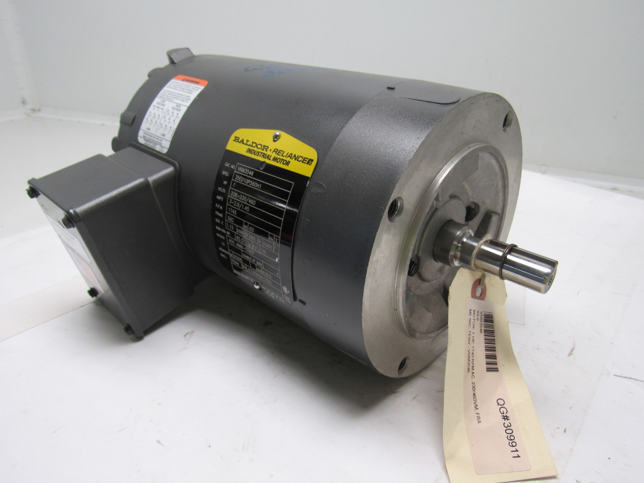 Baldor vnm3546 1 hp 1745 rpm 3 ph 208 230 460v electric for Baldor 1 5 hp motor