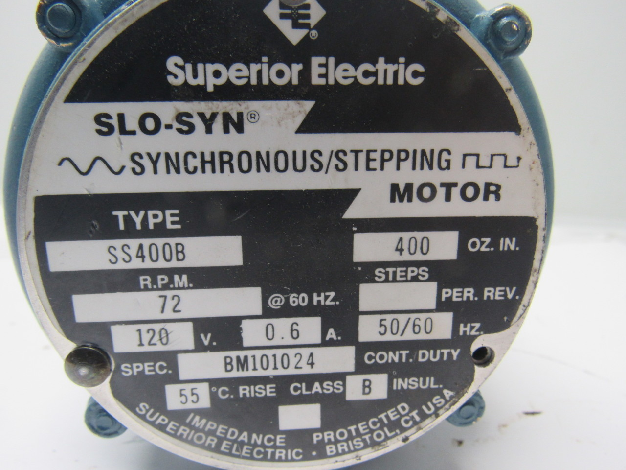 Superior Electric Ss400b Slo Syn 120v 72rpm Stepping Motor