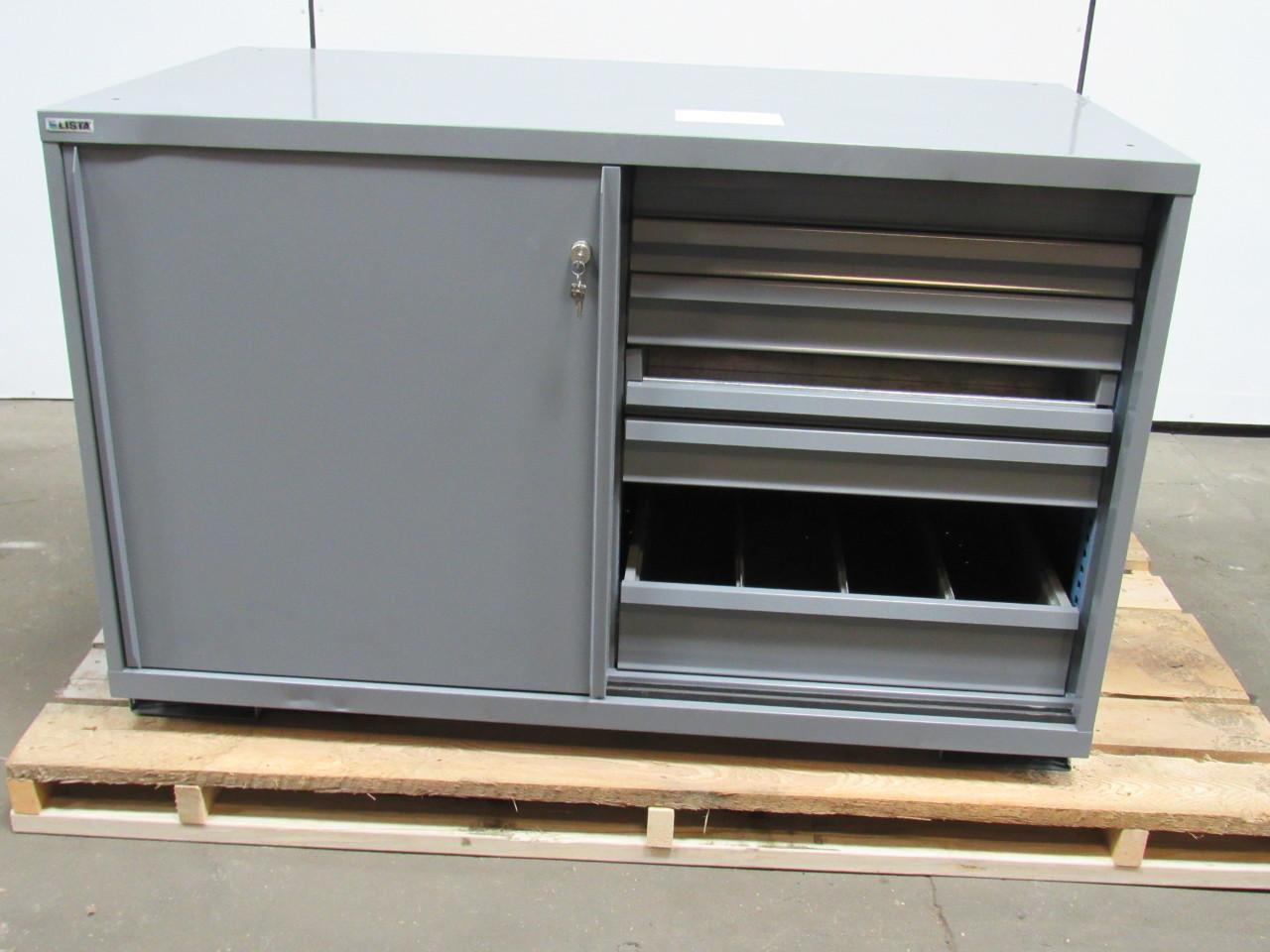 lista double wide 13 drawer industrial tool part storage. Black Bedroom Furniture Sets. Home Design Ideas