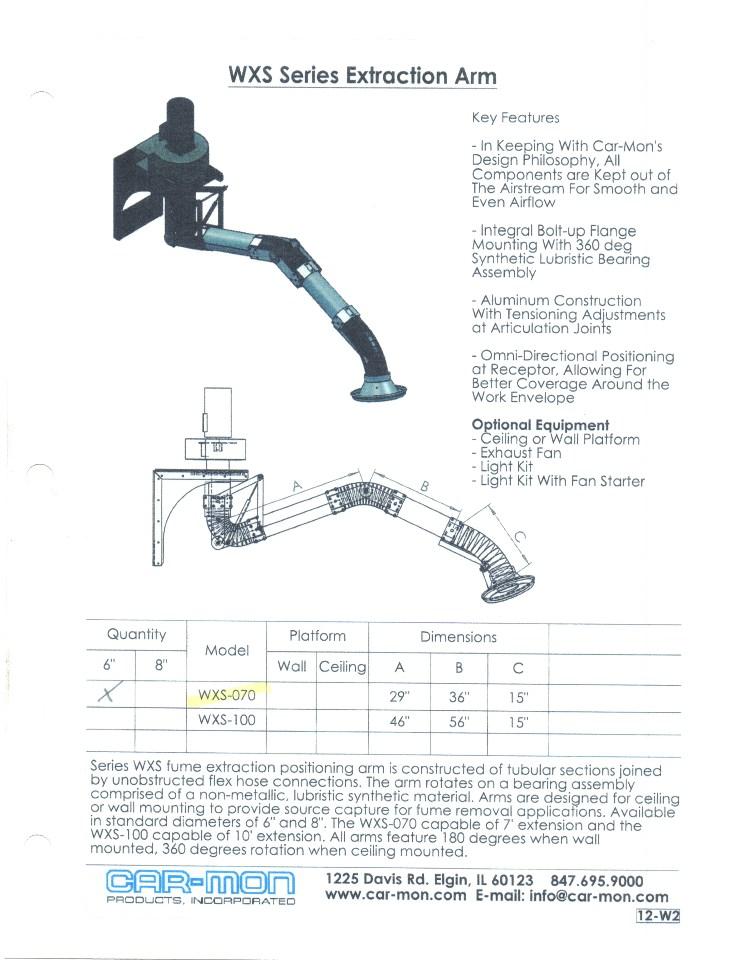 Wall Mount Welding Fume Extractor : Wall mounted welding fume extraction extractor arm