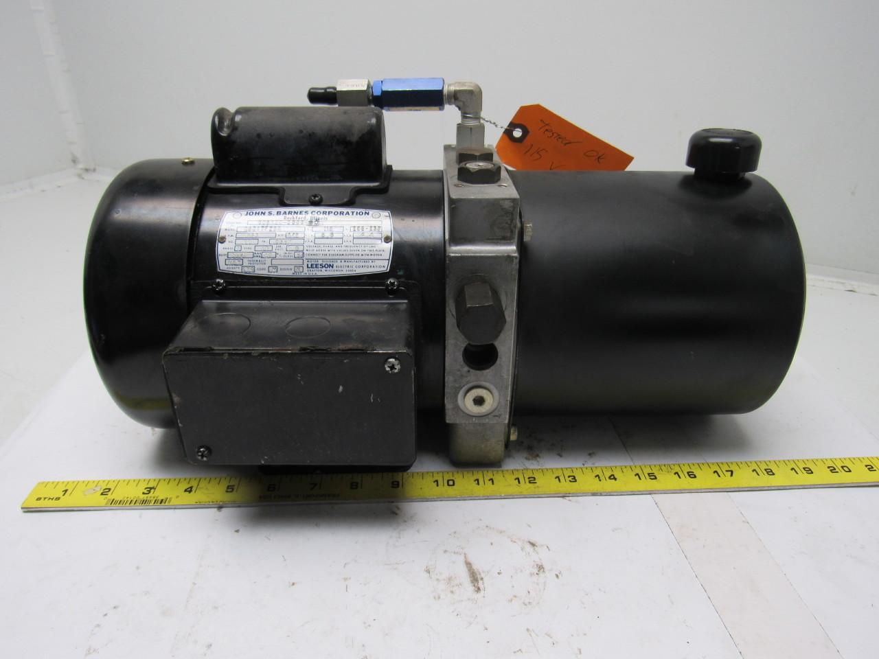 John s barnes corp c6c17fz5a hydraulic pump w leeson 1 2 for Electric motor hydraulic pump