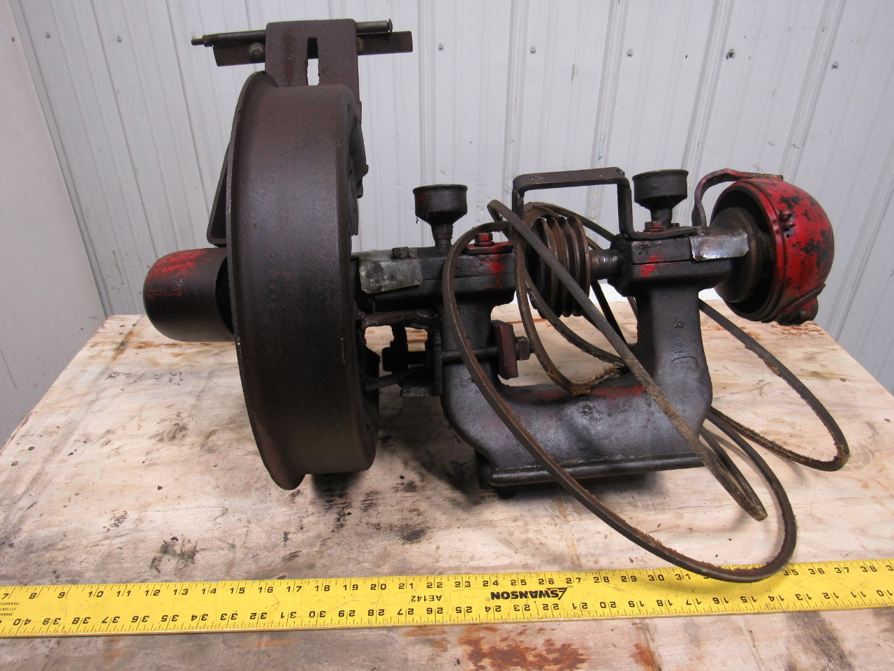 Vintage Steampunk Early Industrial Cast Iron Bench Grinder