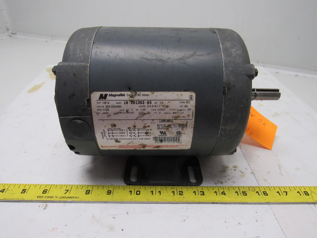Magnetek 10 151352 03 H614 1hp 3ph 200 230 460v 1725rpm