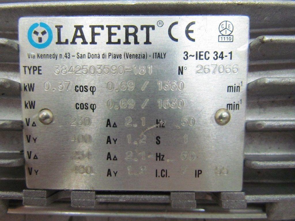 lafert 3842503590 181 motor 1630rpm 254 460volt 3ph iec 34