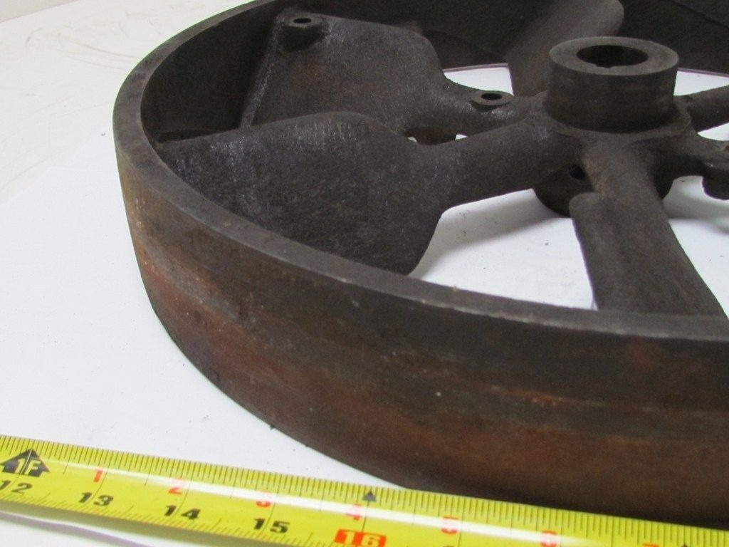 Cast Iron Pulleys For Sale : Vtg quot dia industrial cast iron flywheel pulley flat